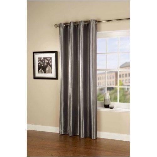 Pair of Silver Taffeta Eyelet Curtains 54