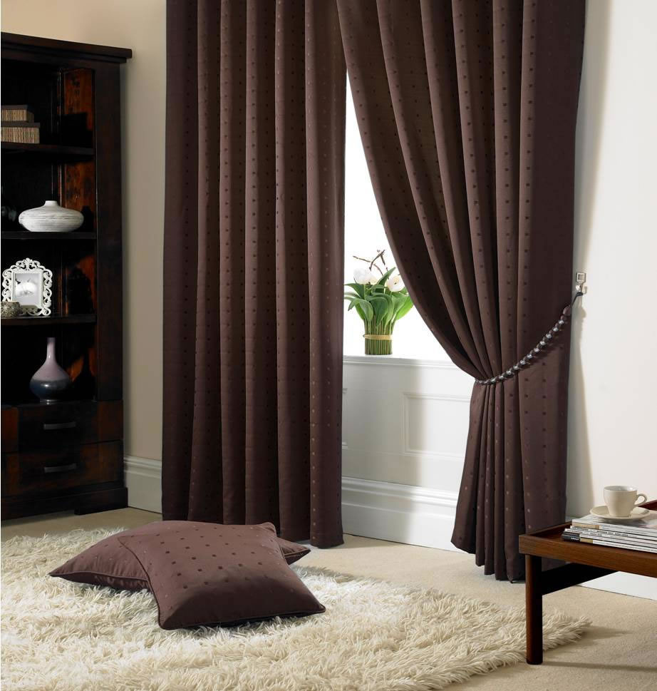 Brown Madison Fully Lined Curtains Eyelet Or Tape Top