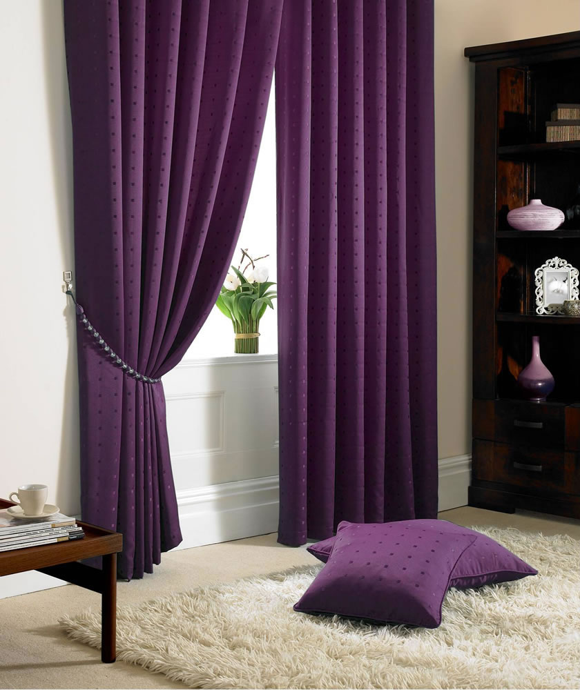 Purple Madison Fully Lined Curtains Eyelet Or Tape Top Ready Made Curtains