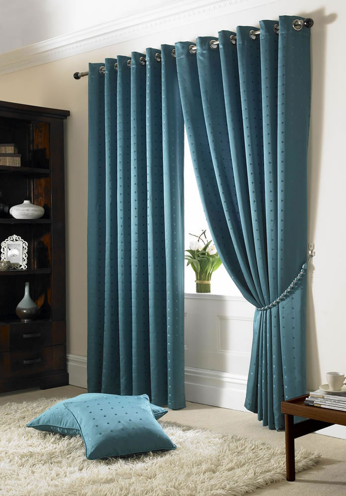 Teal Blue Madison Fully Lined Curtains Eyelet or Tape Top - Ready Made ...