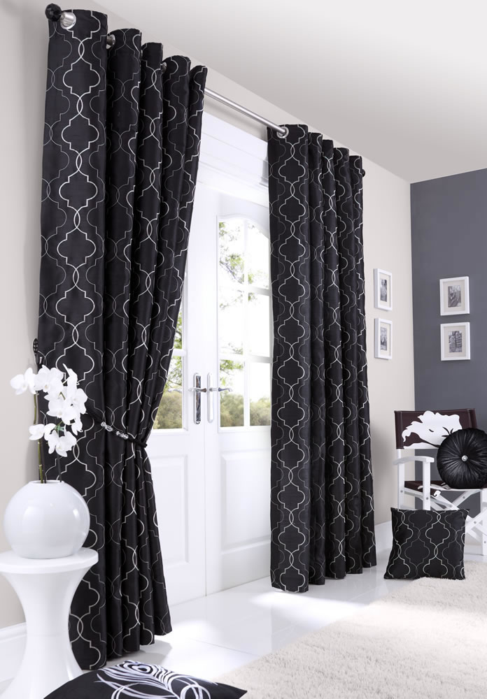 ... Faux Silk Fully Lined Eyelet Curtains - Ready Made Curtains