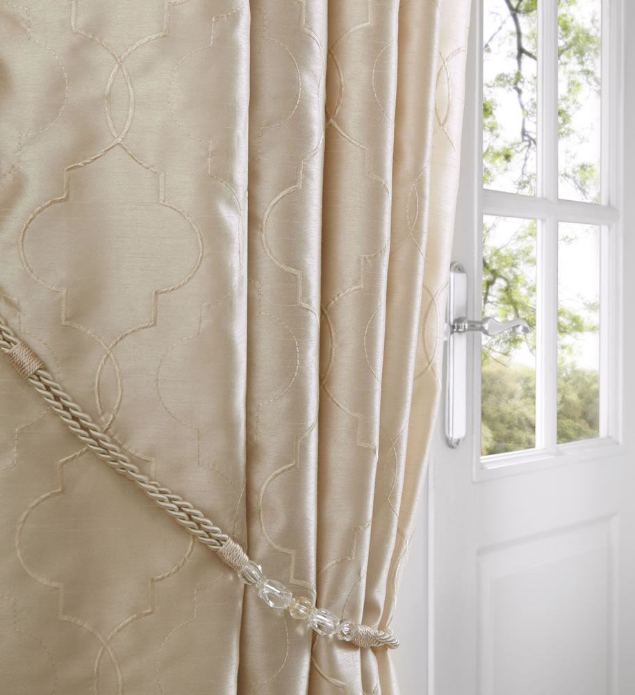 Cream Midtown Embroidered Faux Silk Fully Lined Eyelet