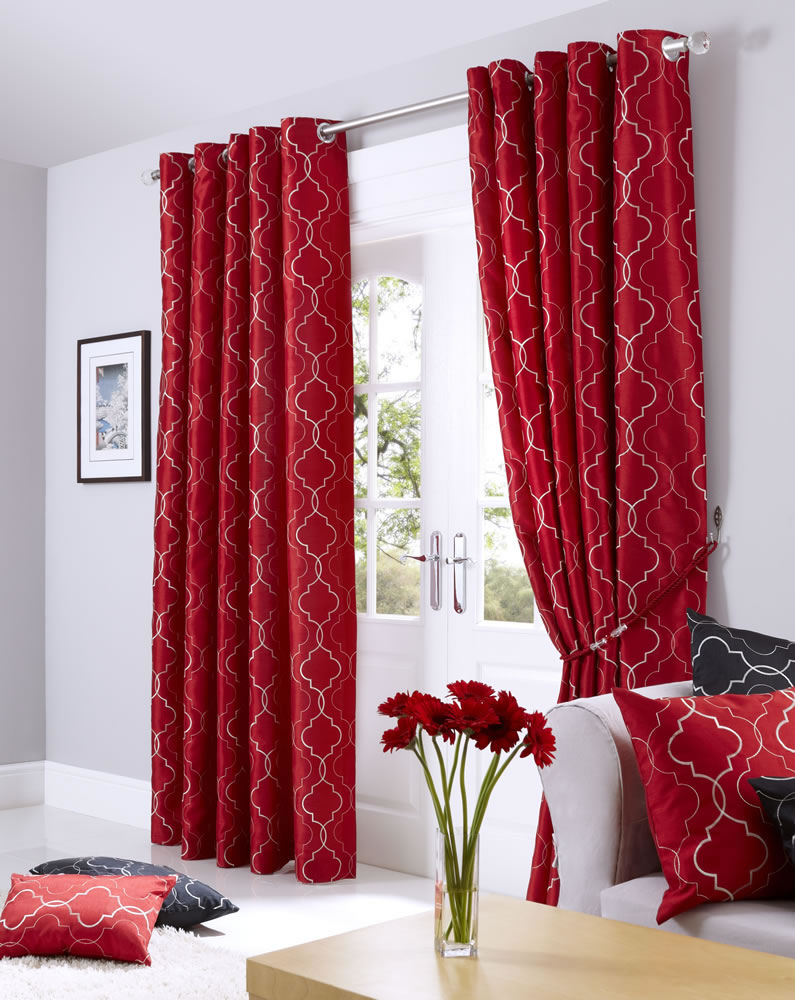 Red Midtown Embroidered Faux Silk Fully Lined Eyelet Curtains - Ready ...