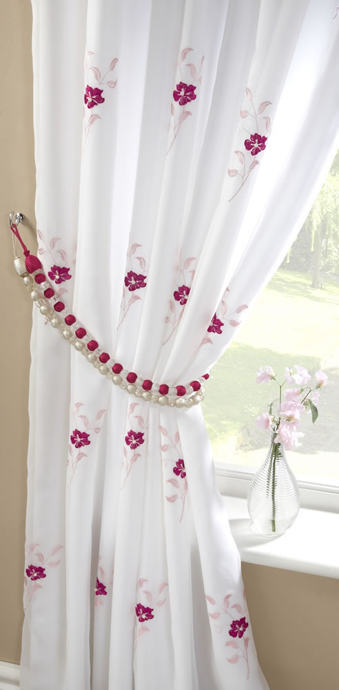 ... Curtains Pink/White ( Ready Made Curtains , Ready Made Voile Panels
