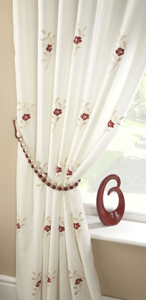 Pair Of Pearls Fully Lined Embroidered Voile Curtains Red