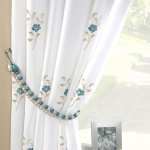 Pair Of Pearls Fully Lined Embroidered Voile Curtains Teal Blue - Ready made curtains white