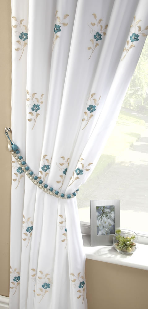 Pair of Pearls Fully Lined Embroidered Voile Curtains Teal Blue ...