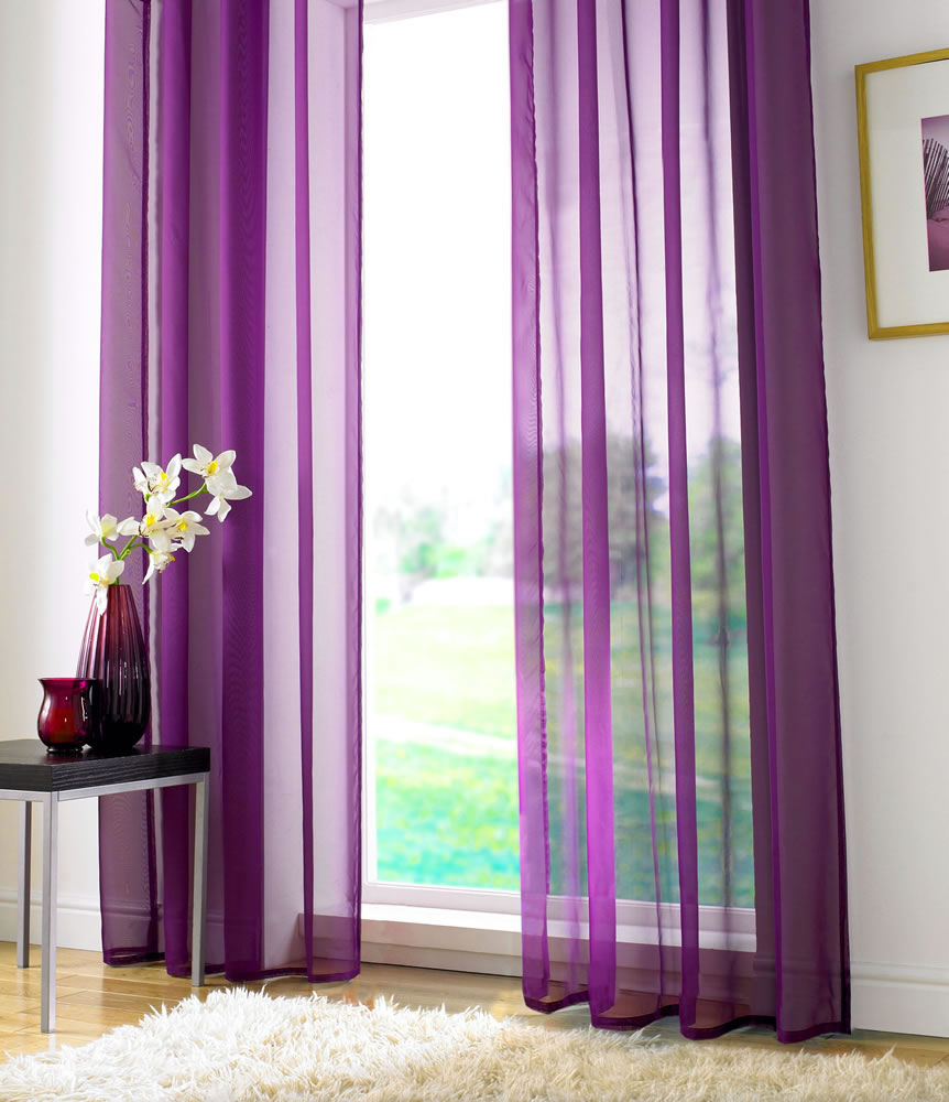 Tab Top Voile Panel Purple Ready Made Voile Panels