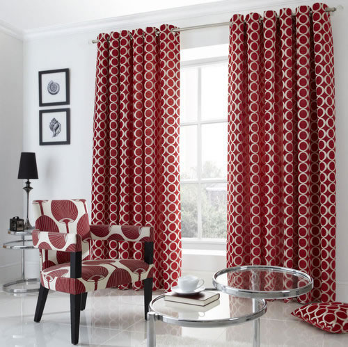 Red Cream Luxury Heavy Chenille Circle Fully Lined Eyelet - Ready made curtains red