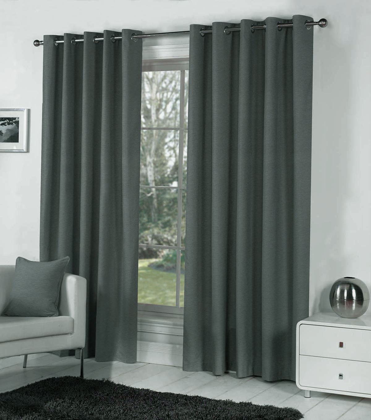 Dark gray curtains - Pair Of Dark Grey Blackout Eyelet Curtains 106 Wide X 90 Drop Extra