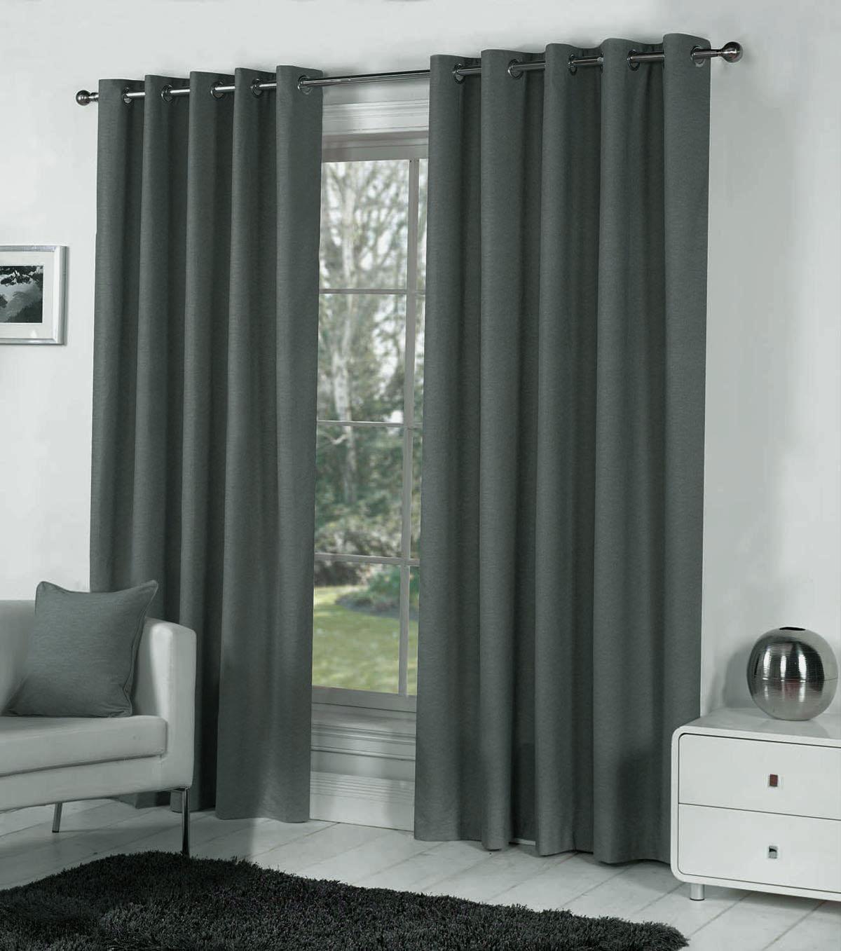pair of dark grey blackout eyelet curtains 106 wide x 90 drop ext