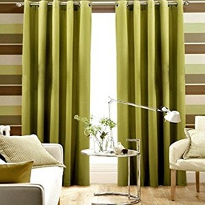 Pair Of Lime Green Blackout Eyelet Curtains 106 Wide X 90 Drop Extra Wide Ready Made Curtains