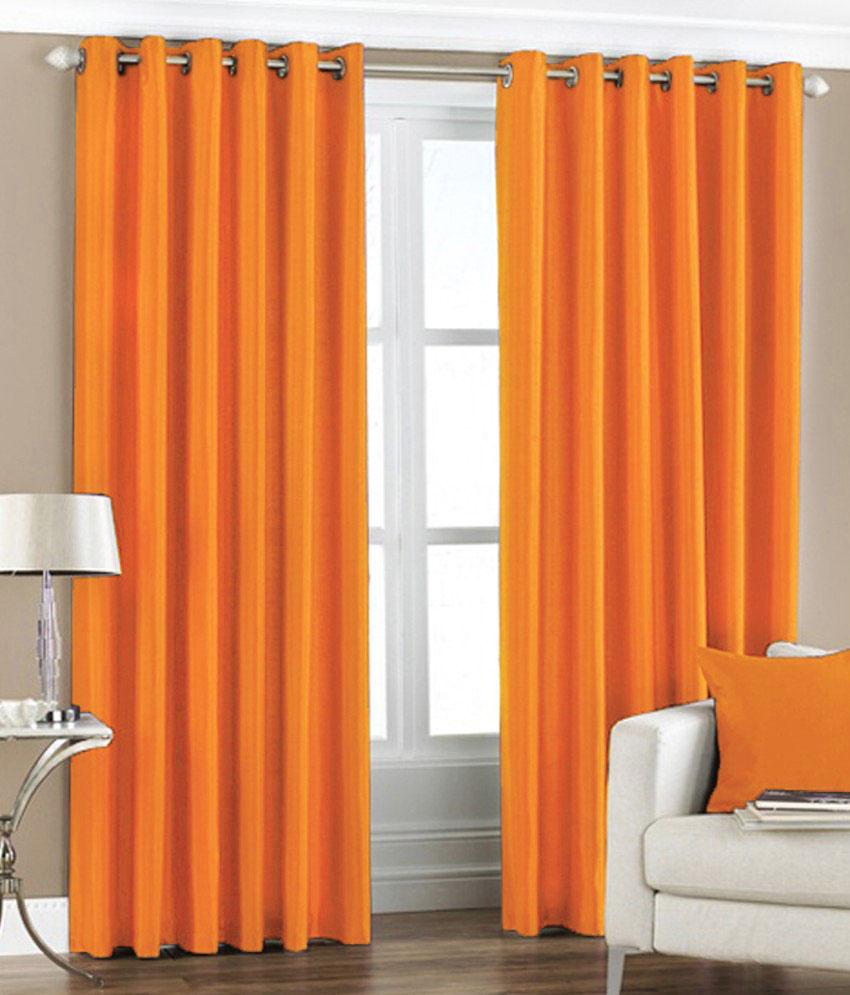 Pair Of Orange Taffeta Eyelet Curtains 55 Quot Wide X 90 Quot Drop