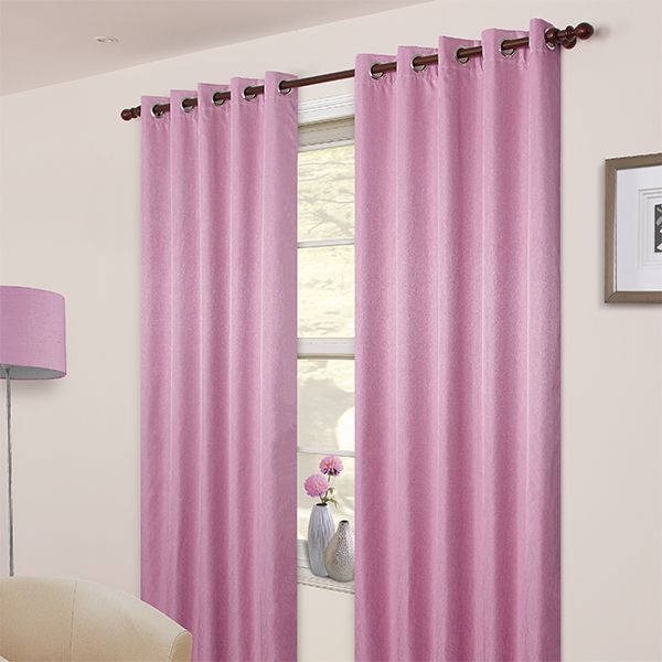 Pair of Pink Blackout Eyelet Curtains 53