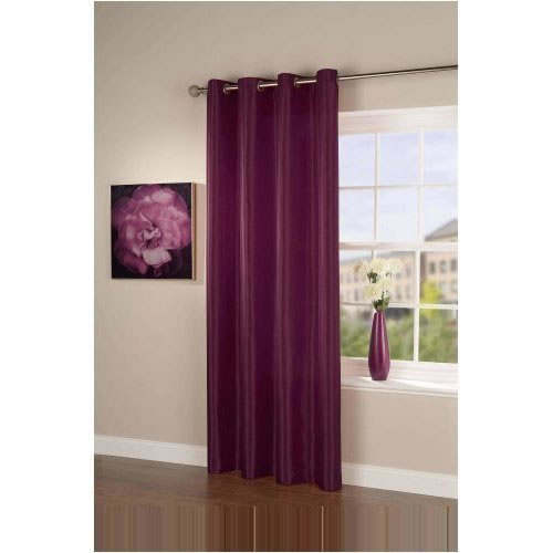 Pair Of Plum Purple Taffeta Eyelet Curtains 90 Drop Ready Made