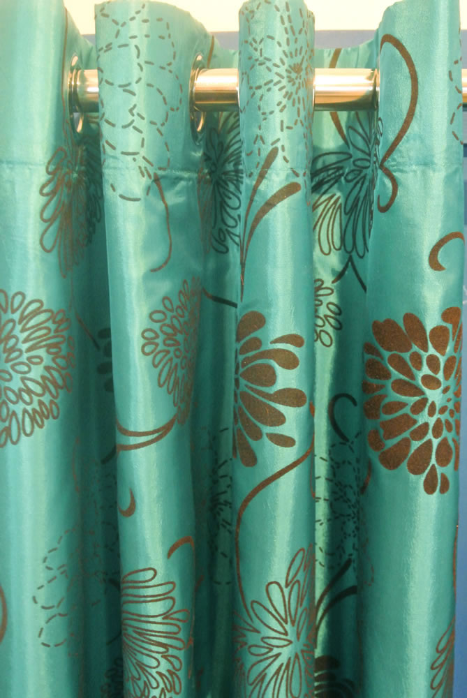 Pair Of Teal Blue Turquoise Brown Taffeta Eyelet Curtains 90 Drop