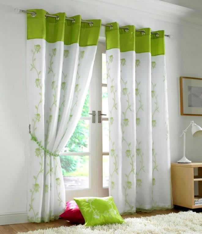Tahiti Embroidered Voile Fully Lined Eyelet Curtains Lime