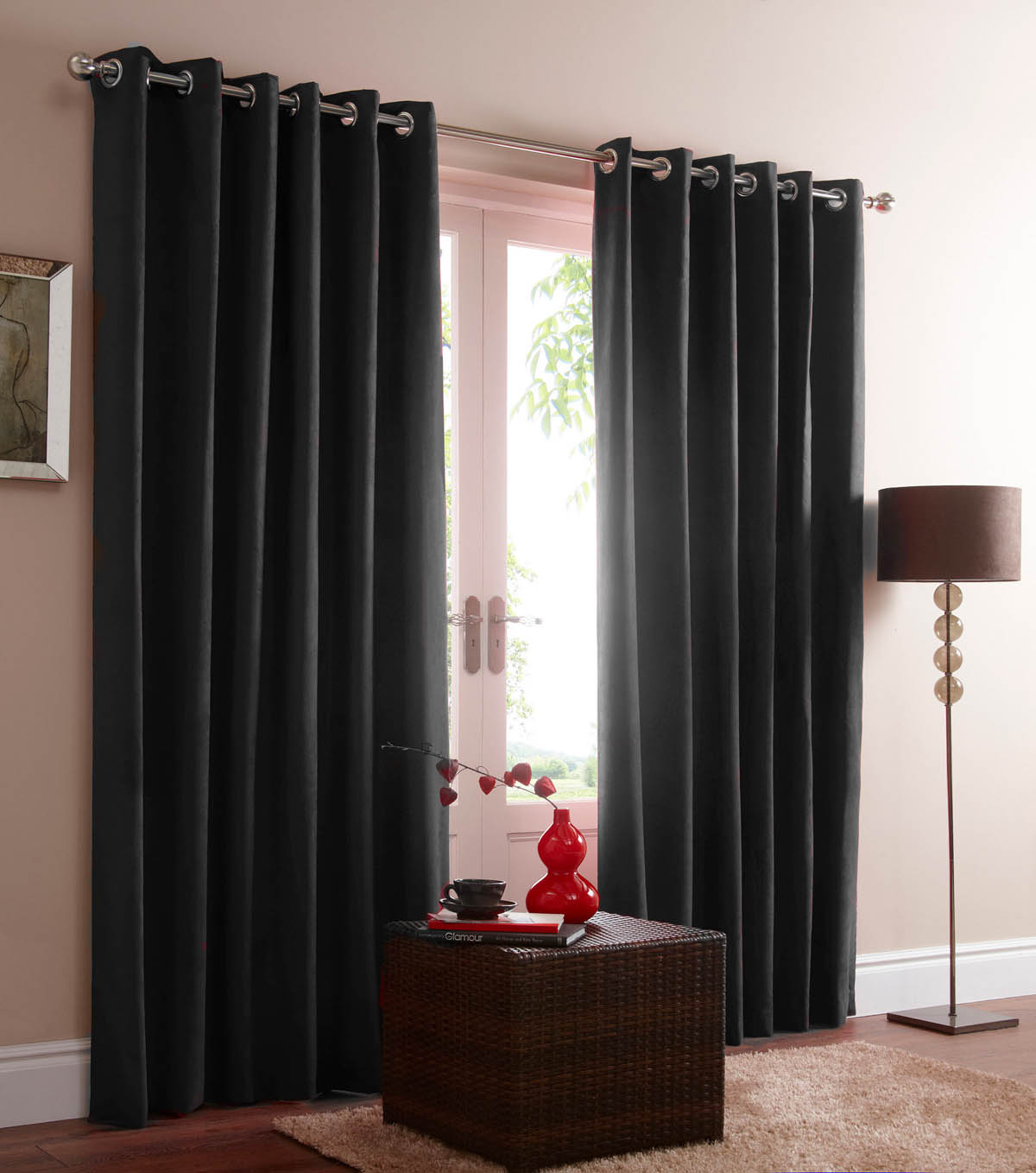 Grey Blackout Eyelet Curtains