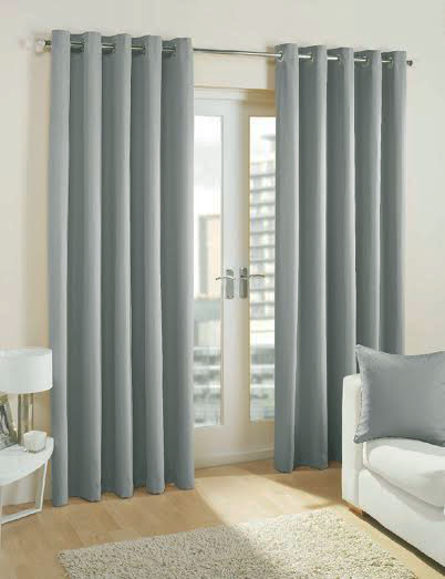 Pair Of Light Grey Blackout Eyelet Curtains 53 Wide X 72 Drop Ready Made Curtains
