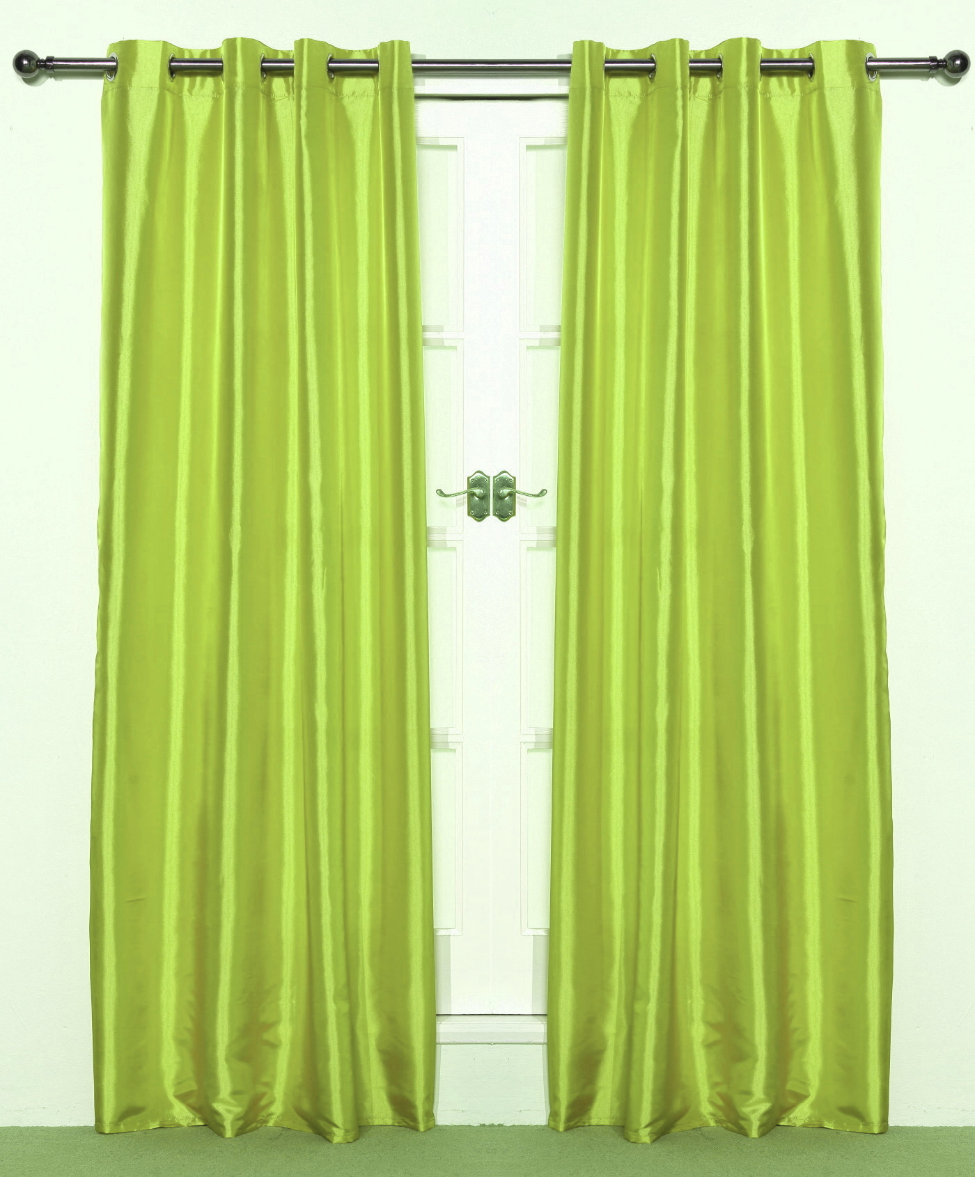 Pair Of Bright Lime Green Taffeta Eyelet Curtains 55 Wide X 72 Drop Ready Made Curtains